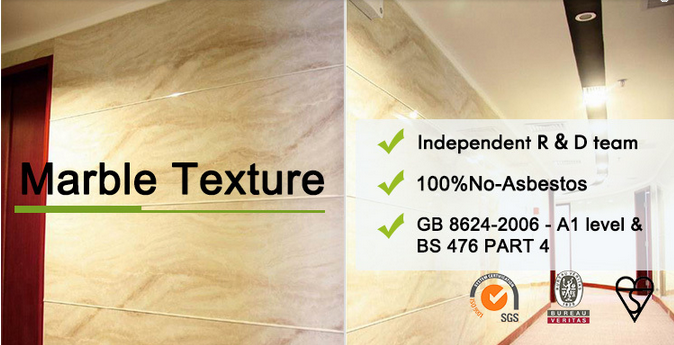 1.4 G / Cm³ PVC Marble Sheet Imitation Marble Slab Anti - UV 3H-6H Hardness
