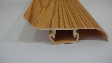 China Dust Proof 80% PVC Skirting Board Covers Profile With Wood Grain Pattern factory