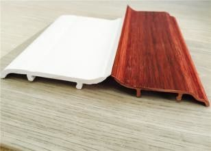 China Decorative White PVC Skirting Board 10CM Height Hot Stamping Finish supplier